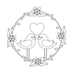 two happy cute bird in love with the heart in floral wreath vector illustration dotted line image