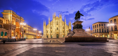 Milan Cathedral and the Galleria on piazza Duomo, Italy
