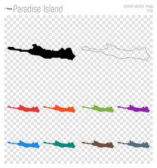 Paradise Island high detailed map. Island silhouette icon. Isolated Paradise Island black map outline. Vector illustration.