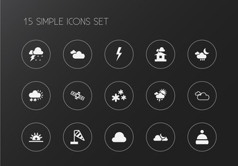 Set of 15 editable air icons. Includes symbols such as fog, shelter, breeze direction and more. Can be used for web, mobile, UI and infographic design.
