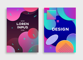 Covers with geometric pattern.