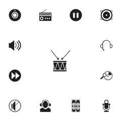 Set of 13 editable sound icons. Includes symbols such as advanced, break music, meloman and more. Can be used for web, mobile, UI and infographic design.