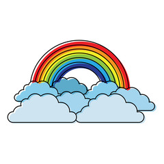 rainbow and cloud in the sky vector illustration