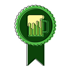 rosette badge with beer glass foamy drink vector illustration