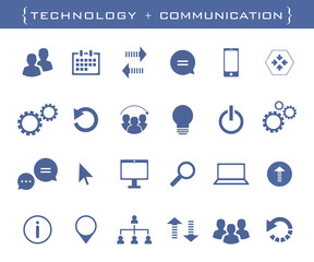 Universal business icons. Technology, communication and business vector set in vector format.
