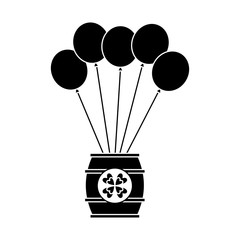 wooden barrel of beer with bunch balloons ornament vector illustration black and white image