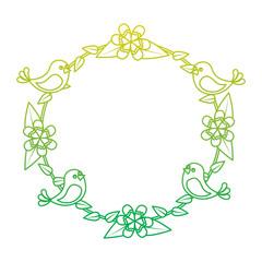 floral wreath birds flowers natural decoration vector illustration neon color line image