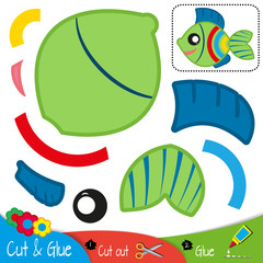 Green fish with blue fins and colorful stripes. Education paper game for preshool children. Vector illustration.