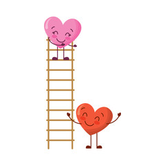 couple of hearts proposing love on a ladder vector illustration