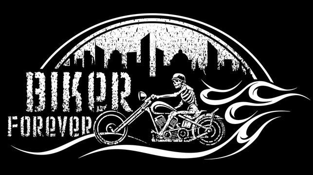 skeleton on bike vector illustration