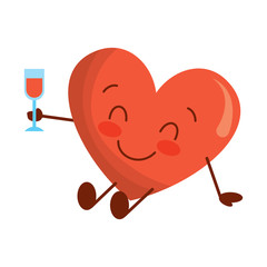 cartoon heart in love sitting with wine glass celebration vector illustration