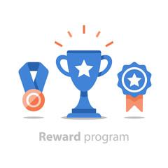 Win super prize, reward program, winner cup, first place bowl, achievement and accomplishment concept, flat icon