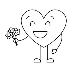 cute heart love holding bouquet flowers gift vector illustration thin line image
