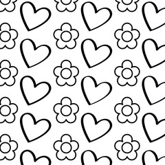 decorative hearts flowers ornate pattern design vector illustration thin line image