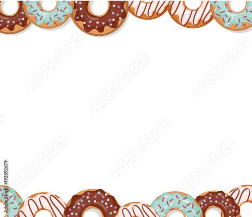 Sweet Bakery Design Template Cartoon Donut Borders Stock Image