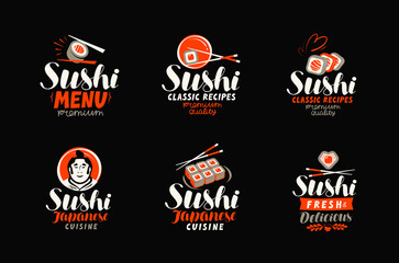 Sushi, sashimi, japanese cuisine logo or label. Set of elements for restaurant menu design. Vector illustration