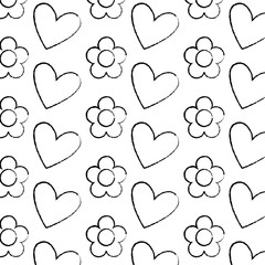 decorative hearts flowers ornate pattern design vector illustration
