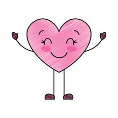 cute cartoon heart happy character vector illustration drawing image
