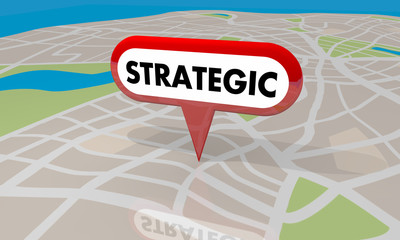 Strategic Planning Map Pin Property Development 3d Illustration