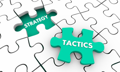 Strategy Tactics Accomplish Goal Puzzle Pieces 3d Illustration