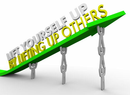 Lift Yourself Up By Lifting Others Team Arrow People 3d Illustration
