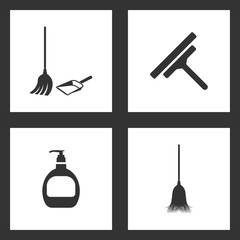 Vector Illustration Set Cleaning Icons. Elements of Broom, dustpan, Glass scraper, Hand cleaning and Sweeping broom icon