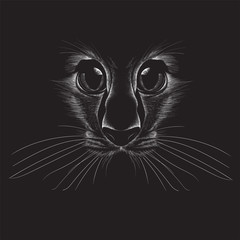 The Vector logo cat for T-shirt design or print on outwear.  Tattoo cats style background.