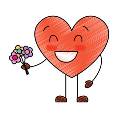 cute heart love holding bouquet flowers gift vector illustration drawing image