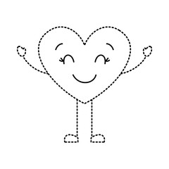 cute cartoon heart happy character vector illustration dotted line image