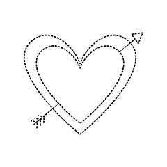 love heart pierced arrow valentine day romantic vector illustration dotted line image
