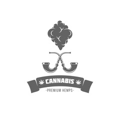 vector illustration badges cannabis isolated of vintage monochrome style for advertising and web design