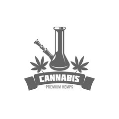 vector illustration badges bong and cannabis isolated of vintage monochrome style for advertising and web design