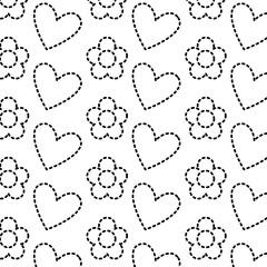decorative hearts flowers ornate pattern design vector illustration dotted line image