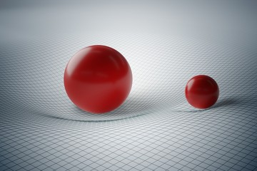 General theory of relativity concept. Distortion of spacetime geometry caused by gravity of massive spheres. 3D rendered illustration.