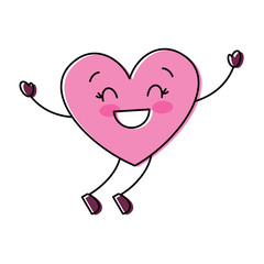 cartoon happy heart love character vector illustration