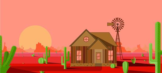 ilustración en vector de un atardecer en el desierto