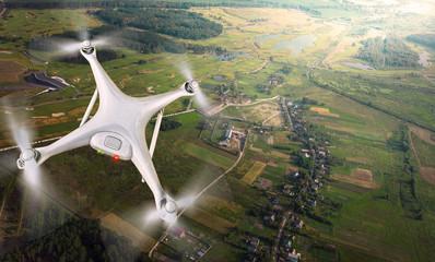 Drone flying over landscape.