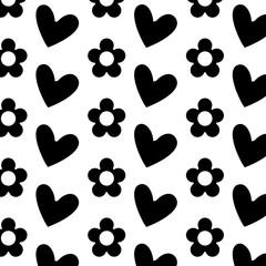 decorative hearts flowers ornate pattern design vector illustration black and white image
