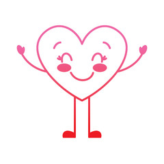 cute cartoon heart happy character vector illustration degrade red line image