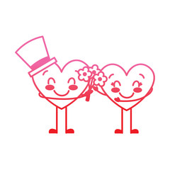 couple hearts love hoding bouquet flowers vector illustration degrade red line image