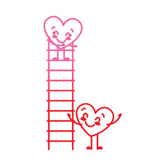 couple of hearts proposing love on a ladder vector illustration degrade red line image