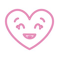 cute cartoon heart smiling happy character vector illustration neon pink line image