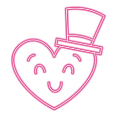 cute heart love with top hat cartoon vector illustration neon pink line image