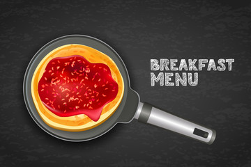 Tasty pancake with raspberry jam on pan, vector realistic illustration. Top view food background with copy space. Dark background design for breakfast dessert menu, cafe, restaurant.