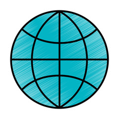globe world technology connection concept vector illustration blue drawing