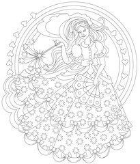 Black and white page for coloring. Fantasy drawing of beautiful fairy holding magic wand. Worksheet for children and adults. Vector image.