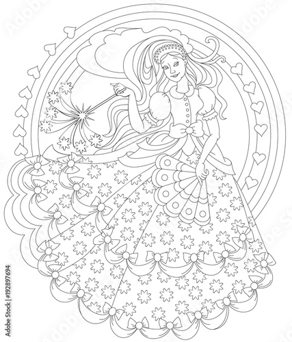 """""""Black and white page for coloring. Fantasy drawing of ..."""