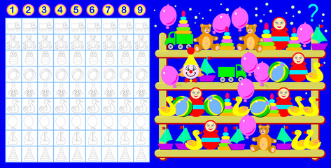 Exercise for young children. Need to count the toys quantity and paint corresponding number of them. Vector cartoon image.