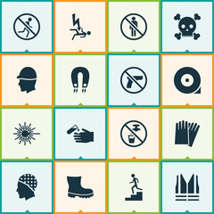 Sign icons set with hand protection, headwear, electrocution hazard electromagnetic