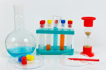 Tools and equipment for biochemical studies on a white background